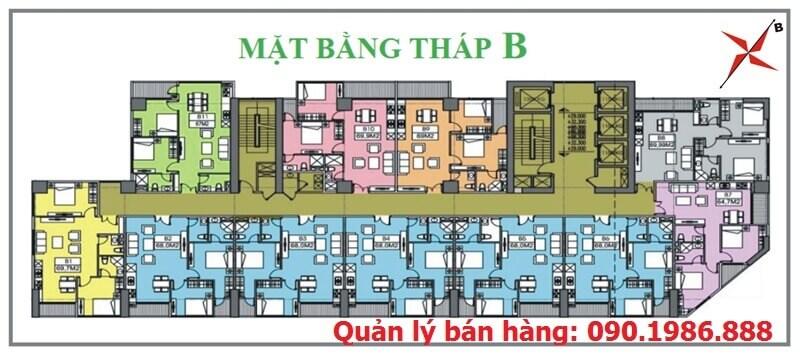 Mặt bằng thiết kế tháp B chung cư Central Field 219 Trung Kính