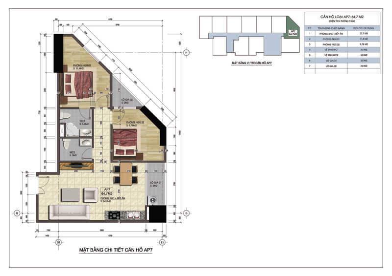 Thiết kế căn góc số 7 chung cư Central Field 219 Trung Kính