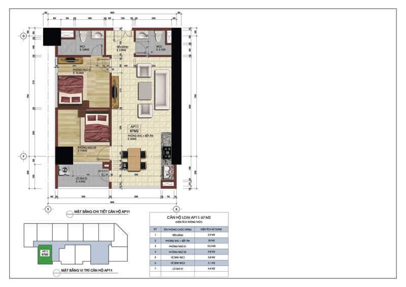 Thiết kế căn góc số 11 chung cư Central Field 219 Trung Kính