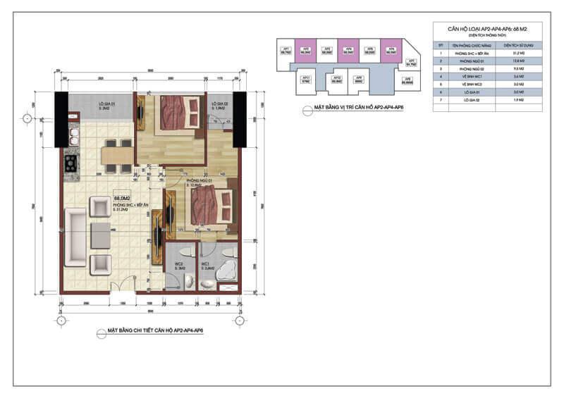 Thiết kế căn hộ số 2 4 6 chung cư Central Field 219 Trung Kính