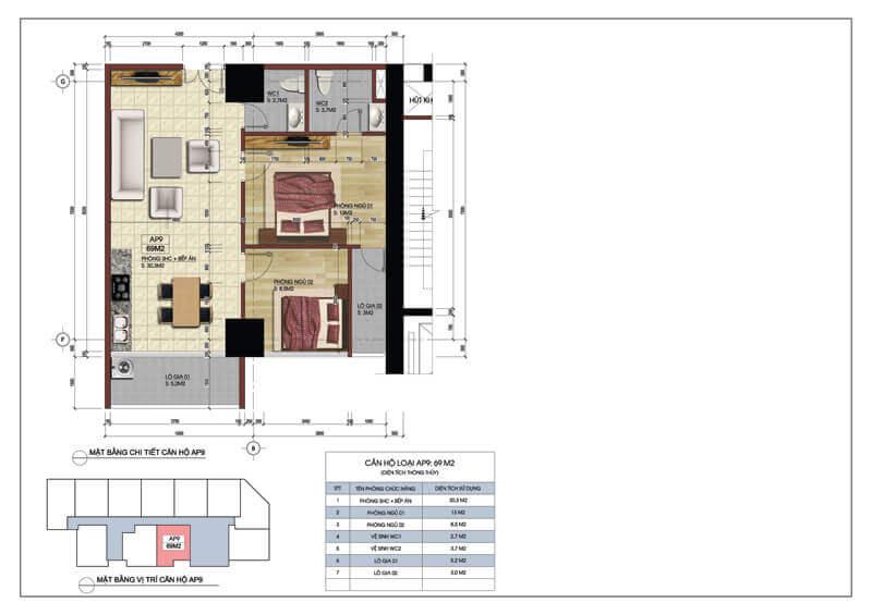 Thiết kế căn hộ số 9 chung cư Central Field 219 Trung Kính