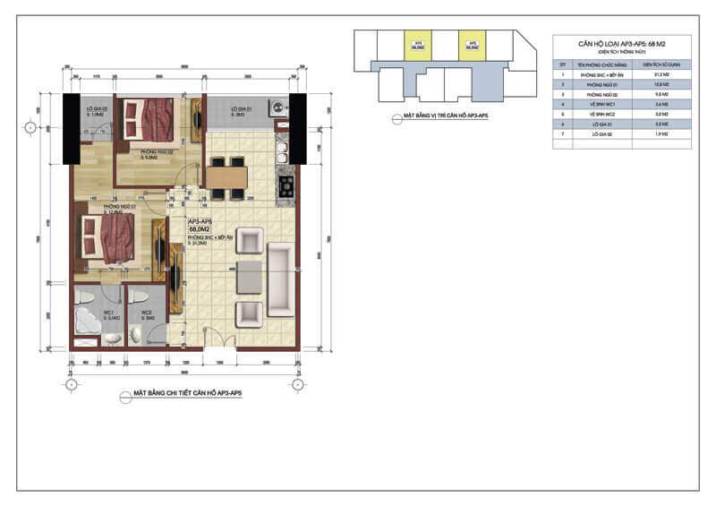 Thiết kế căn hộ số 3 và 5 chung cư Central Field 219 Trung Kính