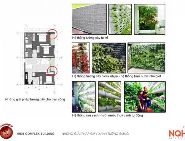 Giải pháp tường dây cây xanh Chung cư HH01 Complex Building Nam Cường Khu đô thị mới Dương Nội