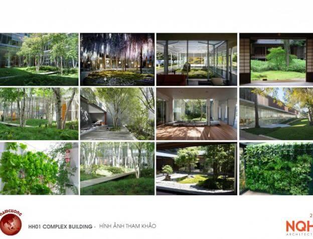 Không gian xanh tại Chung cư HH01 Complex Building Nam Cường Khu đô thị mới Dương Nội